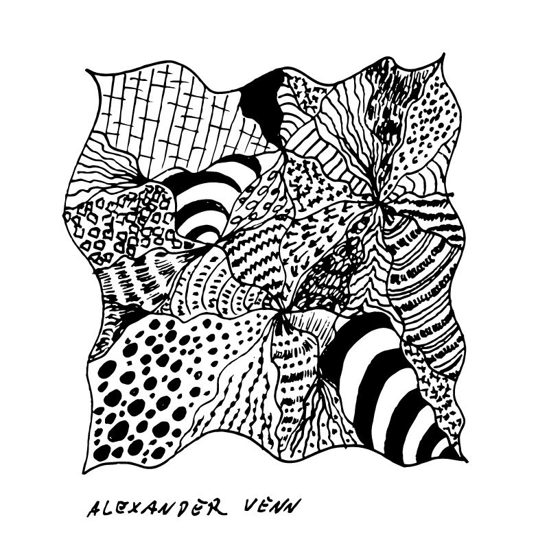 Ein abstraktes Doodle-Zentangel Muster von Hand gezeichnet