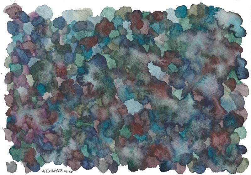 Auf trockenem Papier Aquarell HIntegrund malen mit Farbtupfern