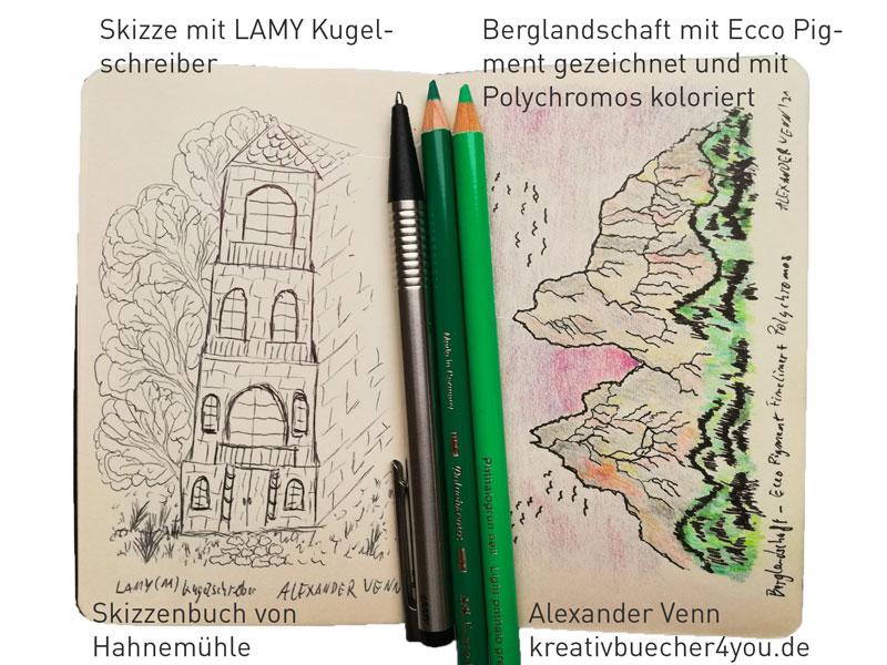 Skizzenbuch von Hahnemühle 9 x 14 Erfahrungsbericht (Kuliskizze, Polychromos Koloratur)