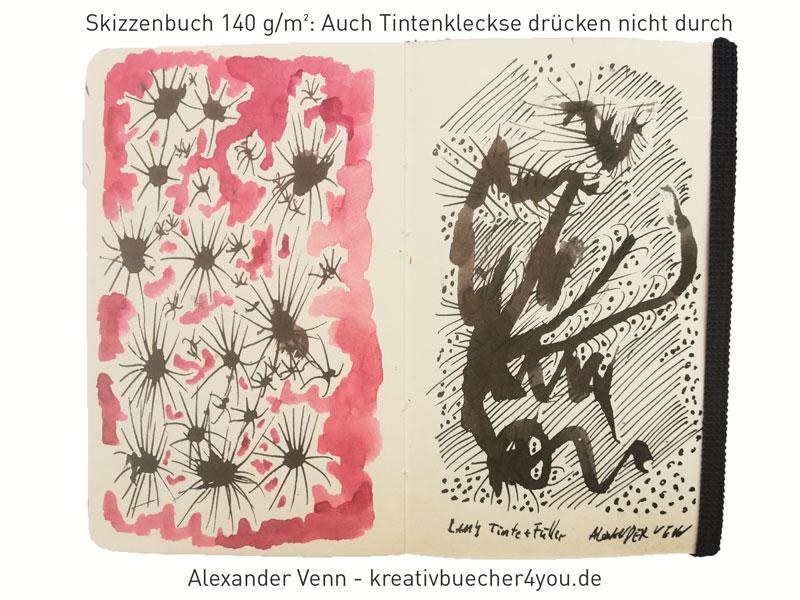Praktisches Skizzenbuch mit festem 140g Papier - Für Tinte geeignet