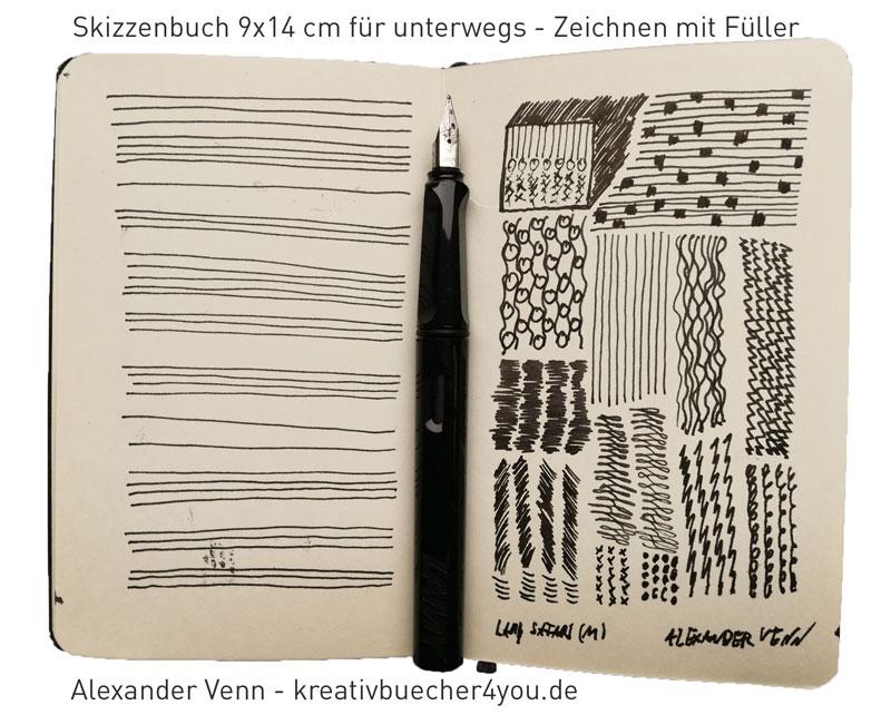Pocket Skizzenbuch für unterwegs (Zeichnungen mit Füller)