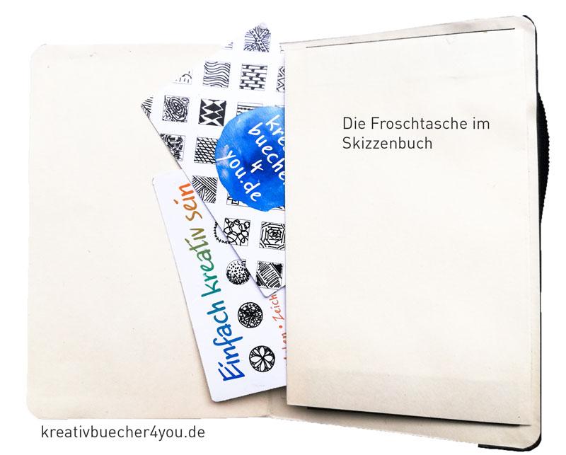 Mini-Skizzenbuch mit Froschtasche