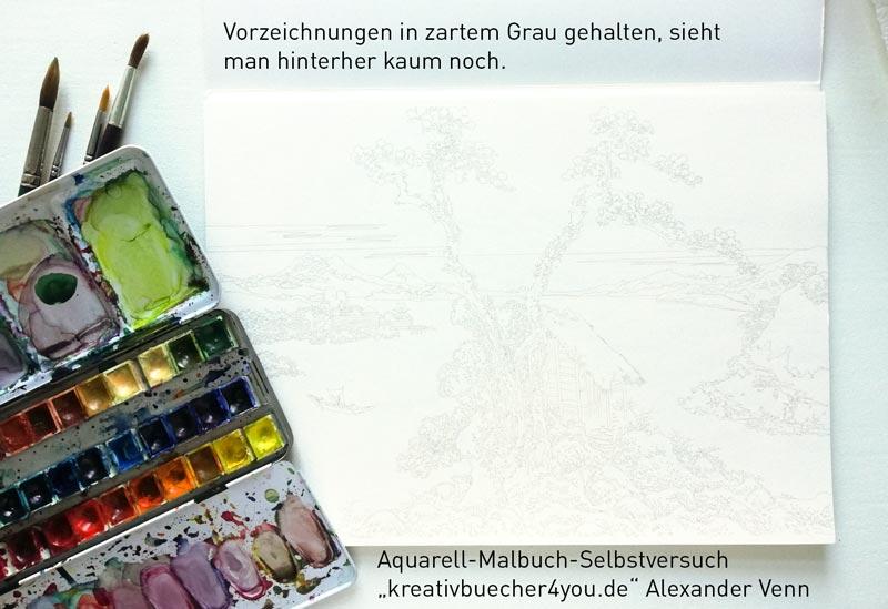Aquarell-Malbuch-im-Test mit grauen Vorzeichnungen