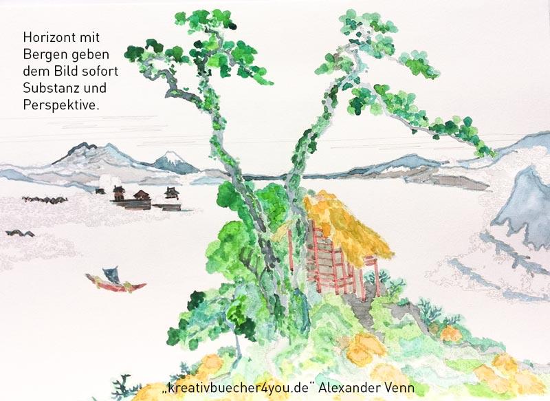 Aquarell Malbuch - den Horizont ausmalen gibt perspektive ins Bild (Schritt4)