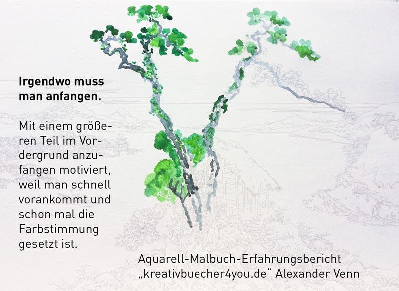 Aquarell-Malbuch Schritt 1 Vordergrund ausmalen