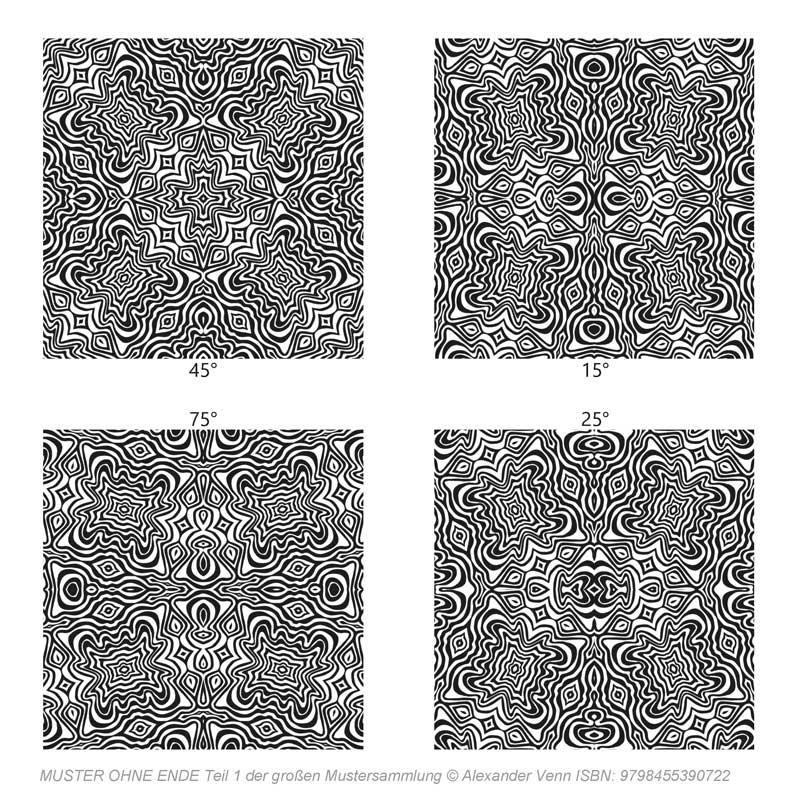 4 Zebramuster gedreht aus der Mustersammlung