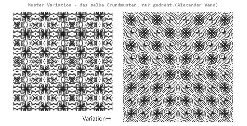 Gezeichnetes Muster-Rapport wird gedreht und wieder gespiegelt - Flächenmuster
